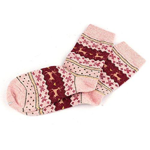 Tonsee® Noël cerf design décontracté tricot de laine chaussettes chaudes d'hiver Hommes Femmes (Rouge clair)