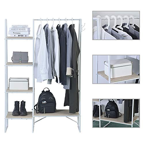 LUCKWIND Metal Garment Rack, Free Standing Closet Organizer with 5 Shelves & Hanging Bar, Heavy Duty Closet Storage Organizer Clothing Rack for Bedroom Entryway(Brown & Black) (white)