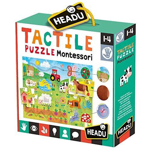 Headu Tactile Puzzle Montessori, Multicolore, 8.05959E+12