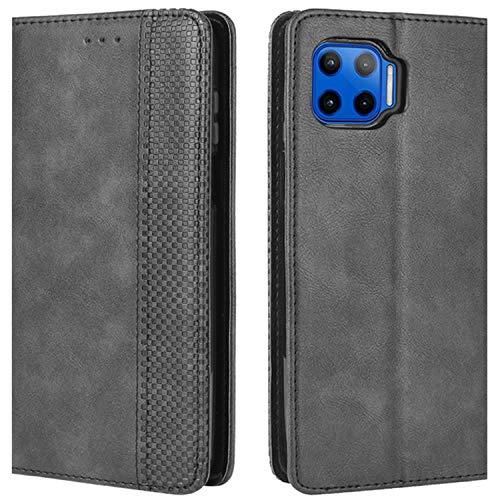 HualuBro Handyhülle für Motorola Moto G 5G Plus Hülle, Retro Leder Stoßfest Klapphülle Schutzhülle Handytasche LederHülle Flip Case Cover für Motorola Moto G 5G Plus Tasche, Schwarz