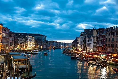 """Venice Italy the city - Art Print On Canvas Rolled Wall Poster Print - 36""""x24"""" (90x60cm) - Unframed"""