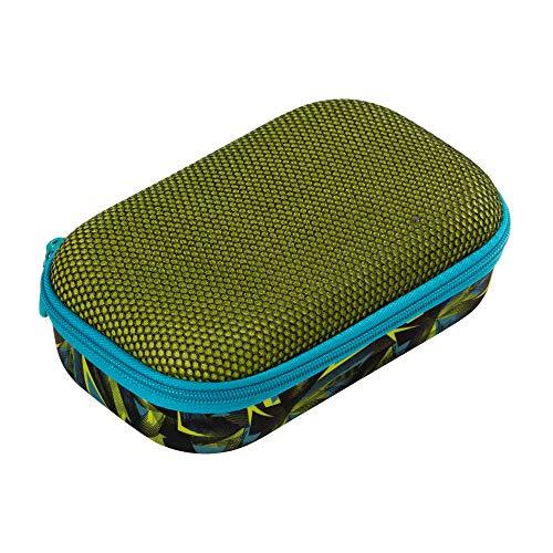 ZIPIT Mesh Bleistiftbox / Aufbewahrungsbox mit Innentasche, Grüne Dreiecke