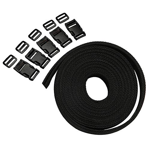 4m*25mm Nylon Webbing Strap Polypropylene Heavy Strap with Double Side Release Buckles Clips + Slides for DIY Making Luggage Strap Pet Collar Backpack Repairing