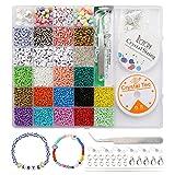 Mengxin 15 Colori 3mm Perline Vetro per Bigiotteria Fai da te Perline Colorate Lettere con Elastic Thread Kit Creare Gioielli per Braccialetti, Collane, Bigiotteria