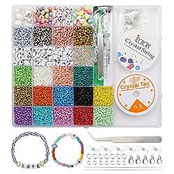 IL SET COMPRENDE: perline da 3 mm a 15 colori, ogni colore è di circa 430, perline da 4 mm hanno 4 tipi, ogni colore è di circa 250, perline con lettere circa 150, perline d'amore circa 40, cuori d'amore circa 30 perline distanziali a forma, circa 40...