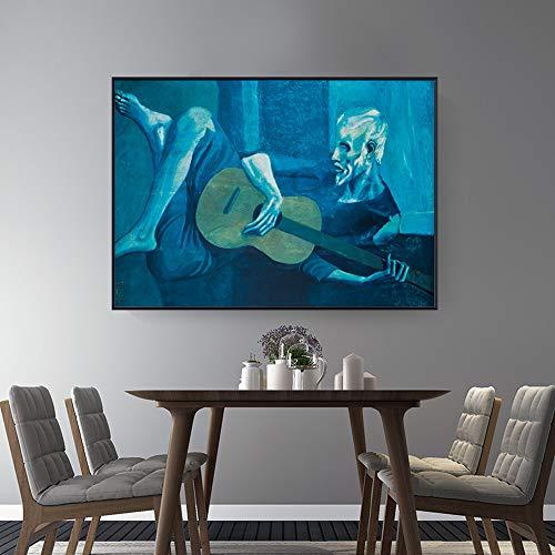 Doyjab Puzzle De Madera para Adultos 1000 Piezas El Viejo Guitarrista de Picasso Arte DIY Puzzle Personaliza El Juego para Adultos Juguetes Educativos para Niños 50x75cm