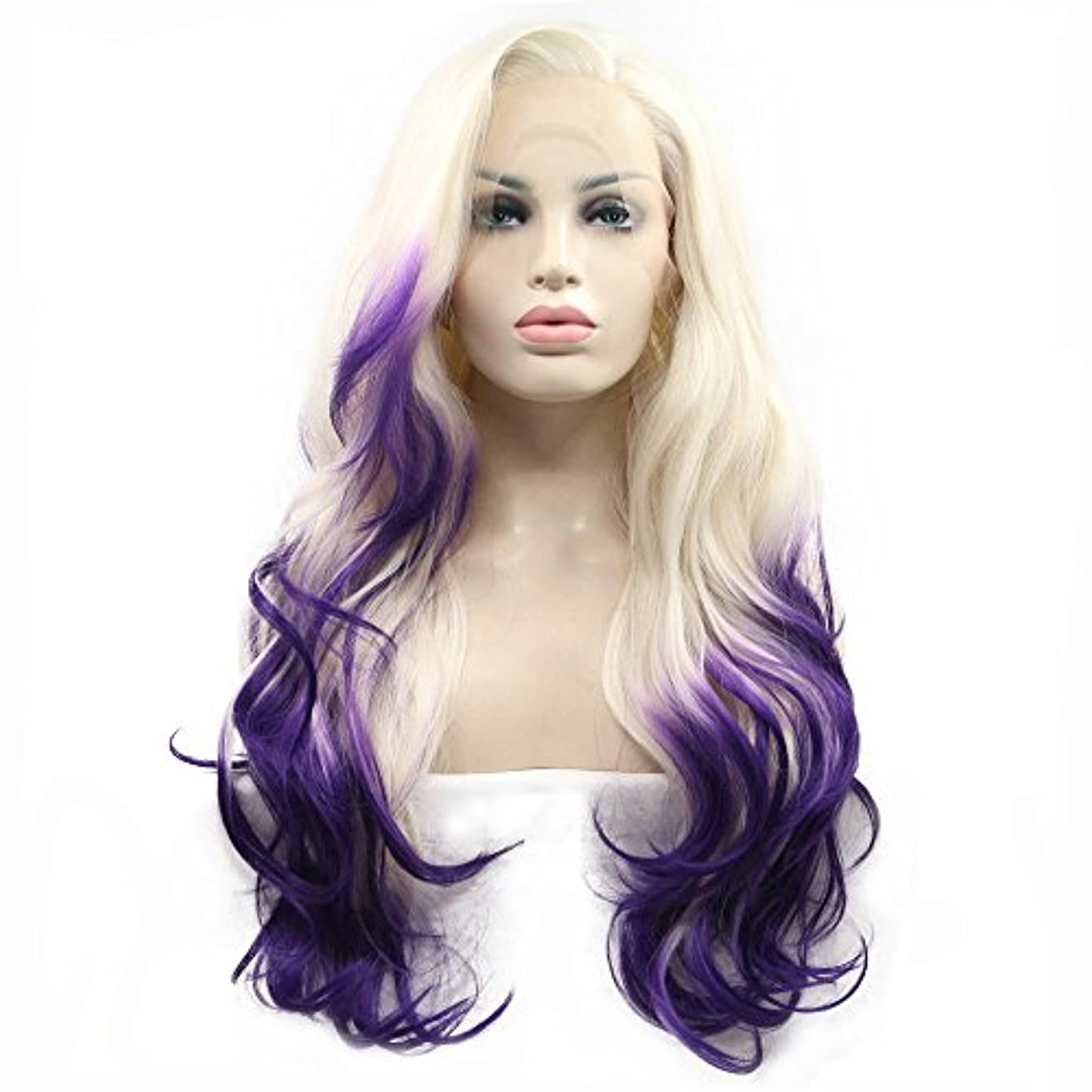 Heat Resistant Natural Wave Long Synthetic Hair White Blonde Ombre Purple Two Tone Handmade Lace Front Wigs for Drag Queen Women Ladies Girls Replacement Cosplay Party Wig Natural Hairline 24inches