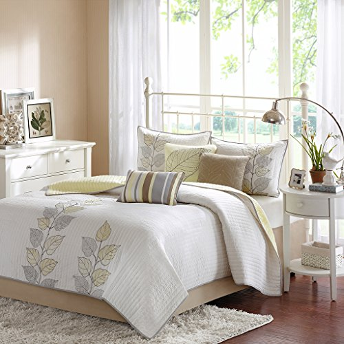 Madison Park Caelie Queen Size Quilt Bedding Set - Yellow, White, Leaf Embroidery – 6 Piece Bedding Quilt Coverlets – Ultra Soft Microfiber Bed Quilts Quilted Coverlet