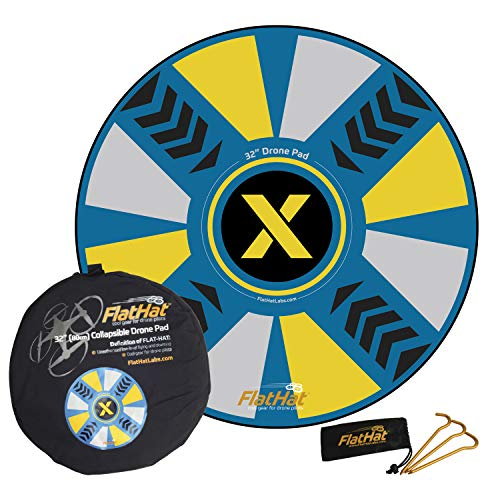 """FlatHat 32"""" (80cm) Collapsible Drone Landing Pad (Blue Yellow)"""