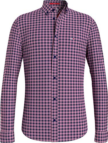 Tommy Jeans Herren TJM Essential Gingham Shirt Hemd, Bubble Pink, L
