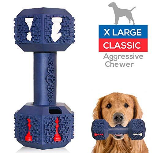 M.C.works Hunde-Kauspielzeug für aggressive Kauer, unzerstörbares Hundespielzeug, ungiftig, robust, Naturkautschuk, Hantel Spielzeug für mittelgroße Hunde