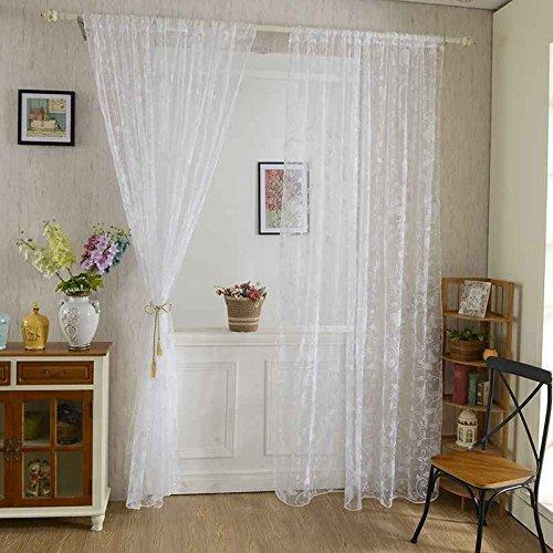 Ogquaton Süßer Schmetterling Tüll-Voile-Vorhang für Tür und Fenster, transparent, weiß, sehr praktisch und beliebt