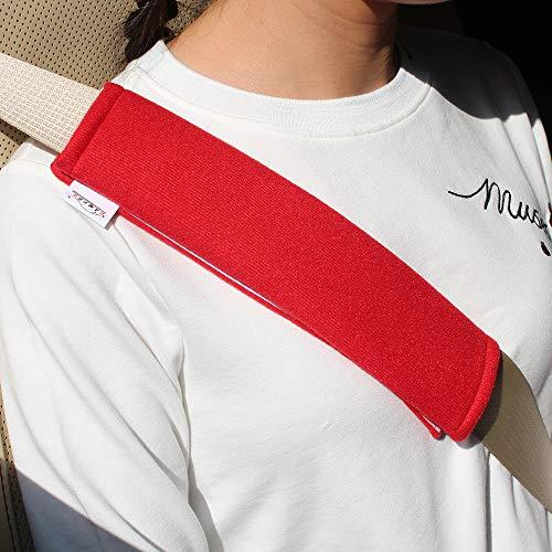 GAMPRO Coprisedili per seggiolino auto, 2 pezzi Morbido seggiolino auto per cintura Tracolla per adulti e bambini, adatto per seggiolino auto, zaino, tracolla (ROSSO)
