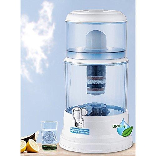 Natures Spring Meine Quelle IV Wasserfilter mit Zapfhahn, 9 (20) Liter Wasser-Reservoir und Filterung nach natürlichen Vorbild in Stufen, BPA-frei