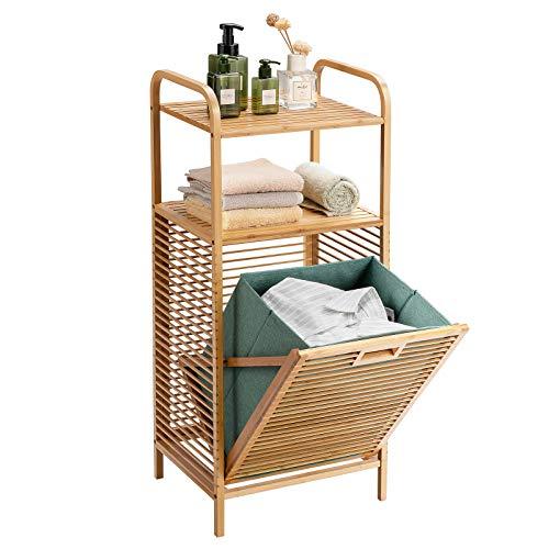 Giantex Laundry Hamper Tilt-Out Laundry Linen Hamper Bamboo Freestanding Clothes Basket W Shelf Removable Liner Storage Laundry Shelf for Laundry Living Room Bedroom 16''x13''x375''L x W x H