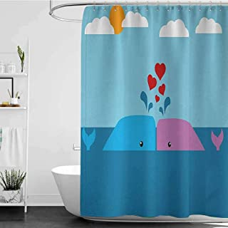 homecoco Shower Curtains Fabric lace Whale,Art of Romantic Love Valentines Whales in Ocean with Sun and Clouds Animal Fun,Blue and Pink, W65 x L72,Shower Curtain for Men