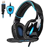 SADES SA902 7.1 Surround Sound PC Gaming Headset USB Over Ear Headphones with Microphone LED Light Volume Control for Mac/Computer/Laptop - Black/Blue