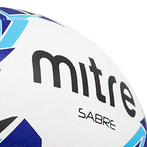 Mitre Sabre Rugby Training Ball, White (White/Blue/Cyan), Size 5