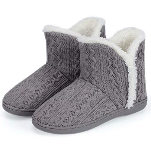 TUOBUQU Slipper Boots Women Winter Warm Fuzzy House Knit Bootie Slippers Ladies with Hard Sole for Indoor Grey M 7-8