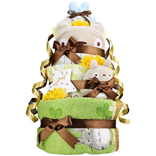 名入れ刺繍 出産祝い スタジオジブリ となりのトトロ 超豪華DX3段 おむつケーキ 男女兼用 (パンパーステープタイプSサイズ)
