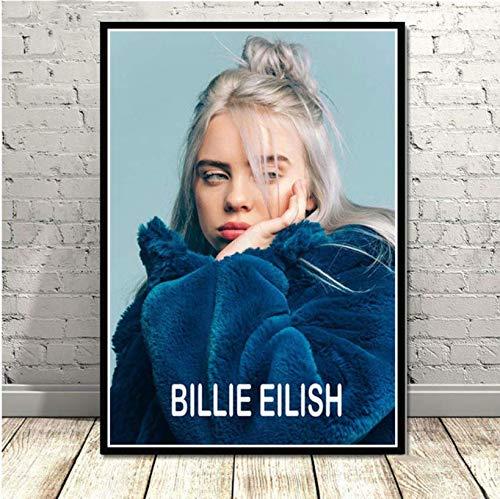 MZCYL Plakat Und Drucke New Billie Eilish Musiksänger Popstar Wandkunst Gemälde Leinwand Wandbilder Für Wohnzimmer Home Decoration UR242 Rahmenlos 40cmx60cm