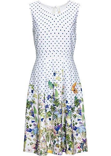 bonprix Attraktives Kleid mit V-Ausschnitt und ausgestelltem Rockteil weiß geblümt 36/38 für Damen