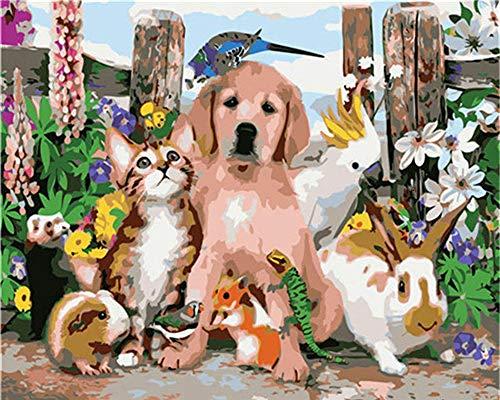 KSKD Peinture à l'huile bricolage par numéros peinture par numéros Kits à l'huile numérique toile mur Art oeuvre Chien animal peint- 16x20 pouces avec cadre
