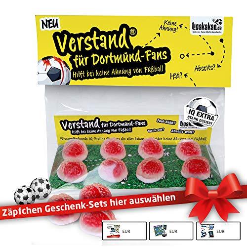 Dortmund Geschenk Set ist jetzt VERSTAND für Dortmund-Fans | Fruchtgummi-Pralinen, hochdosiert | Für Schalke, Bayern & Fußball-Fans, denen der Verstand von Dortmund-Fans am Herzen liegt