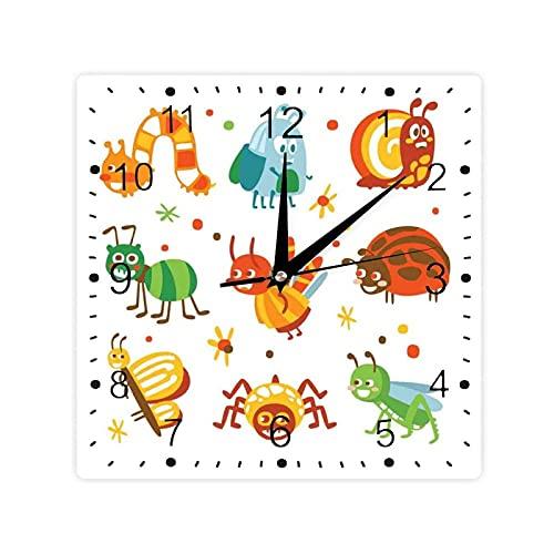 Colorido Animales Dibujos Animados Mariposa Araña Mariquita Y Saltamontes Diseño Cuadrado Morden Reloj Slient