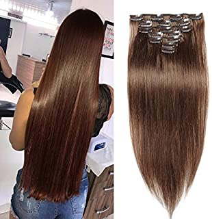 Jisheng 22inch 160g Stright Real Remy Clip in Hair Extensions 10A Grade 100% Brazilian Virgin Human Hair 7 Pieces 16 Clips Double Weft for full Head Light Brown Color