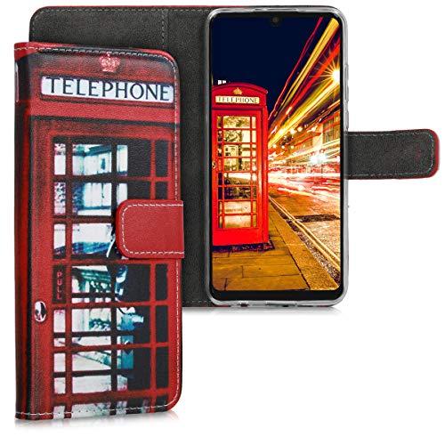 kwmobile Wallet Hülle kompatibel mit Huawei P30 Lite - Hülle mit Ständer Kartenfächer London Handy Rot Schwarz Weiß