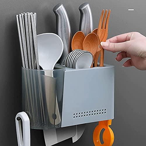 LBHH Jaula de Palillos 1 Piezas Palillos Jaula Soporte de plástico para Cuchillos,Cocina sin Perforaciones,Cuchillo para el hogar,Soporte para Palillos,Estante de Almacenamiento Multifuncional