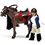 Unbekannt Puppenhaus Zubehör Pferd mit Reiterin, bewegliche Körperteile, Kleidung: Bewegliche...