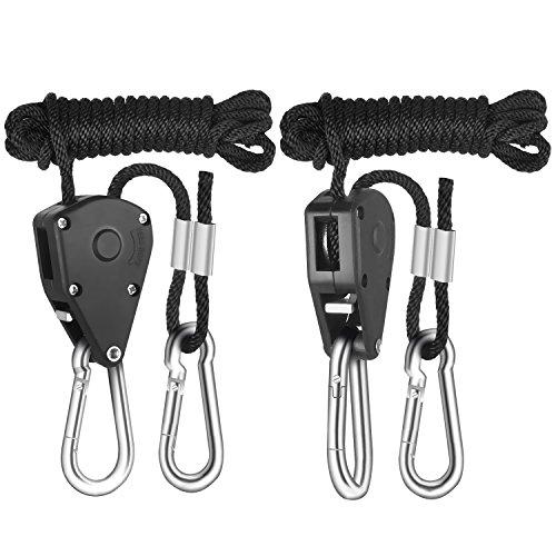 iPower GLROPE 1-Pair 1/8 Inch 8-Feet Long Heavy Duty Adjustable Rope Clip Hanger (150lbs Weight Capacity) Reinforced Metal Internal Gears, 1 Pack, Black