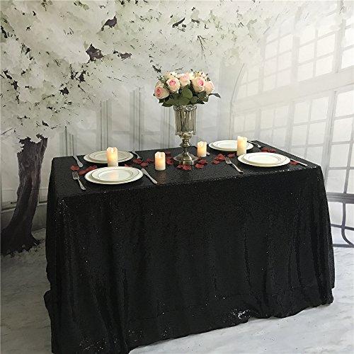 """Mantel de boda de lentejuelas Yzeo, para boda o eventos, tamaño y colores personalizados, materiales sintéticos, negro, 50""""*72"""""""