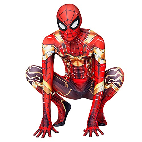 XNheadPS Iron Spiderman Máscara Traje Traje Cosplay Iron Man Monos Niños Adultos Disfraz Traje Halloween Navidad Carnaval Monos Superhéroe Impresión 3D Zentai, Golden Iron Man - Adult/170~180cm