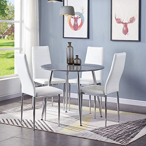GOLDFAN Ronde eettafel en stoelen Set 4 hoogglans keukentafel met hoge rug PU lederen stoelen Eetkamerset