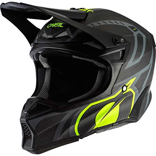 O'NEAL   Casco Moto   Motocross   Guscio leggero in fibra di carbonio, standard di sicurezza ECE 22.05, borsa porta casco inclusa   10SRS Carbon Helmet Race   Adulto   Nero Giallo Neon   Taglia XXL