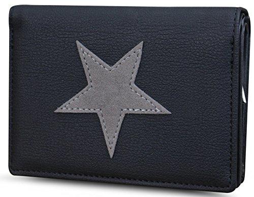 Damen Luxus Canvas Stern Geldbörse Geldbeutel Brieftasche Portemonnaie Damenbörse Börse (M1 Schwarz/Grau)