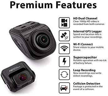 Rexing V1P Pro Dual 1080p Full HD Front and Rear 170 Degree Wide Angle Wi-Fi Car Dash Cam with Built-in GPS Logger, S...