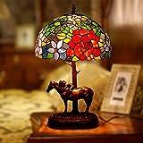 Tischlampe Nachtlampe Lüster Wandleuchte Boden Tiffany Bankers Tischlampe Barock-Schreibtisch-Licht-Weinlese Buntglas Lampshade, for Nacht Wohnzimmer Schlafzimmer Büro Dekorative Pony Tischlampe