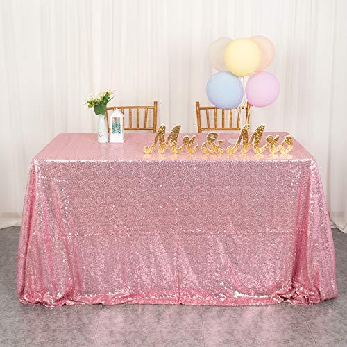 Mantel rectangular de lentejuelas de 50 x 80 pulgadas, color rosa brillante, para decoración de boda, fiesta, color rosa y dorado