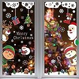 heekpek 9 Fogli Natale Vetrofanie DIY Rimovibili Natale Adesivi Murales Stickers PVC Babbo Natale Albero di Natale Finestre Adesivo per Casa Camerette Salotto