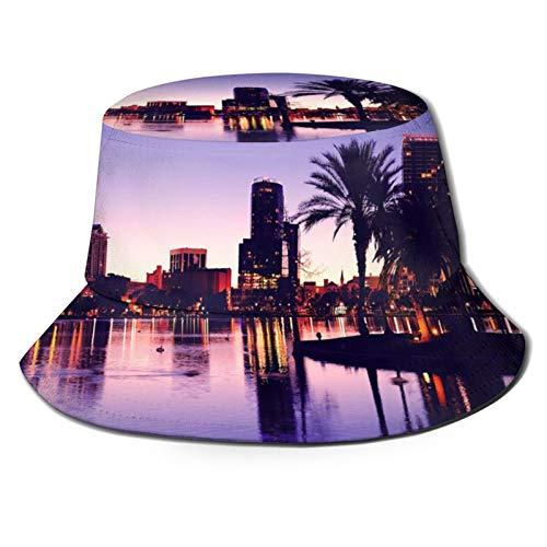 Yoliveya Sombrero de Pesca,Panorama del Horizonte del Centro de Orlando sobre el Lago EOLA al Atardecer,Senderismo para Hombres y Mujeres al Aire Libre Sombrero de Cubo Sombrero para el Sol