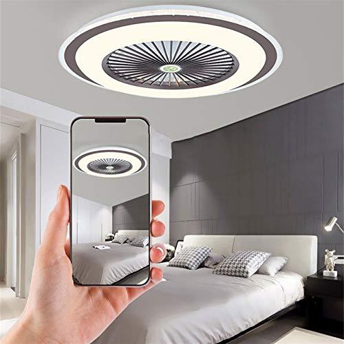 DULG Ventilador de techo con luces y control remoto, luces de techo modernas Lámpara de ventilador regulable 35W, luz de ventilador para la decoración de dormitorio de restaurante Iluminación de venti