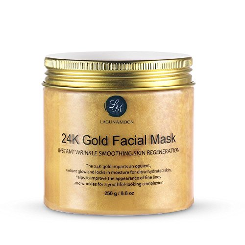 Masque Facial d'or 24K Lagunamoon- Masque de Visage d'or d'once Anti Vieillissement Traitement Facial Anti-rides de Pores Minimizer, Traitement de Cicatrice d'acné et Solvant de Points Noirs, 250g