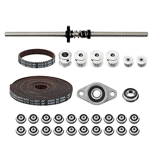 Gt2 Timing Belt Pulley Include 8 Timing Belt,F688 F623 Lea-d Screw Nut Kit,200mm Trapezoidal Lea-d Screw,Pom An-ti-Backlash Nut With Spring,Bearing With Seat For 3d Printer Voron V0