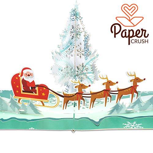 """PaperCrush® Pop-Up Karte Weihnachten """"Santa & Rentiere"""" - 3D Weihnachtskarte für Kinder, Frauen und Männer, Geschenkkarte mit Weihnachtsmann, Weihnachtsgrußkarte inkl. Umschlag"""