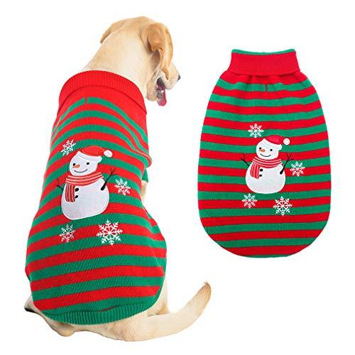 Puptec - Jersey de perro con diseño de muñeco de nieve a rayas, diseño de cuello alto