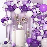 Kit de arco de guirnalda de globos morados de 114 piezas, macaron morado claro gris morado metálico morado plateado morado confeti globos decoración decoración de bodas cumpleaños fiesta aniversario